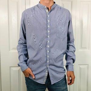 Aglini Italian Blue Striped Mandarin Shirt XL 17